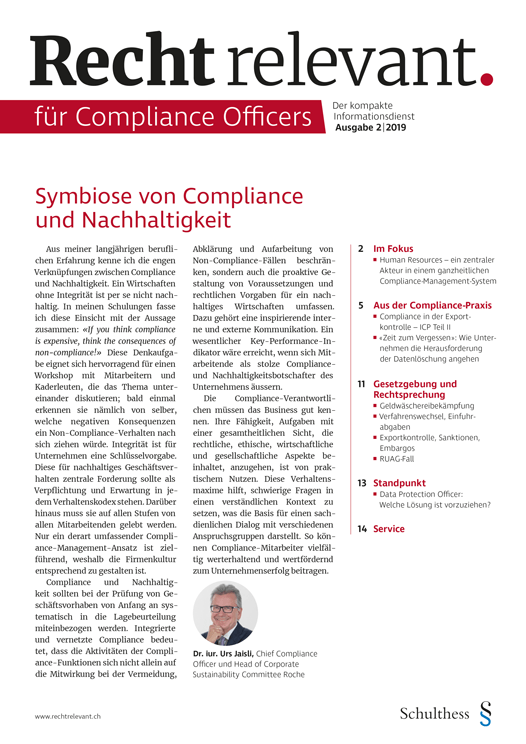 Recht relevant für Compliance Officers 2|2019