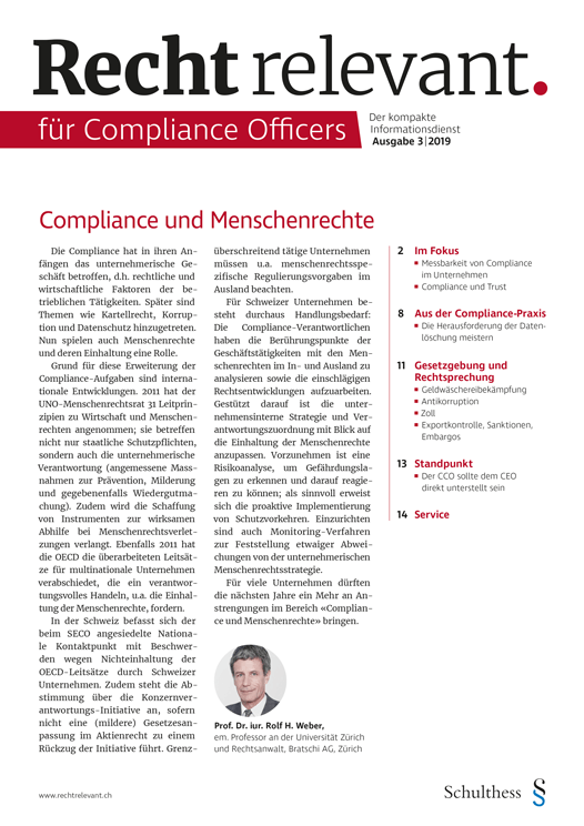 Recht relevant für Compliance Officers 3|2019