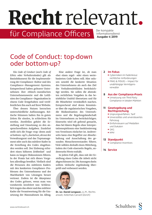 Recht relevant für Compliance Officers 4|2019