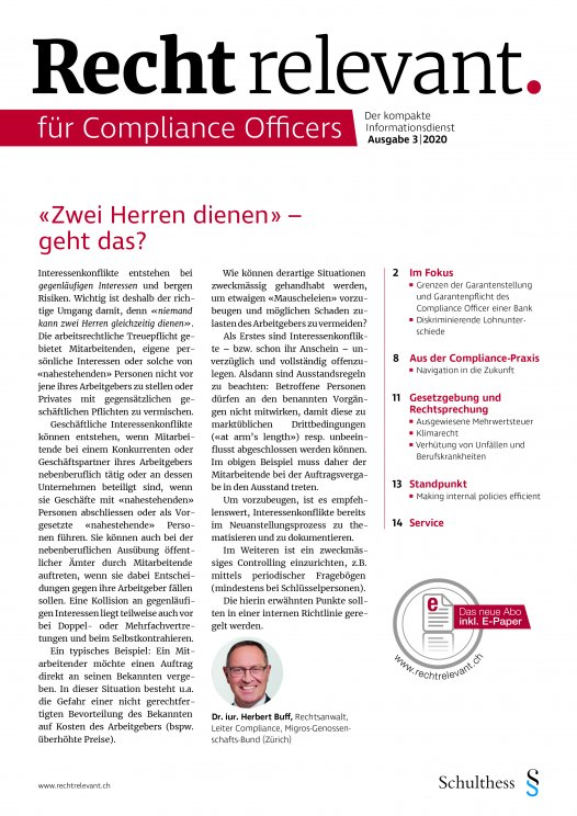 Recht relevant für Compliance Officers 3|2020